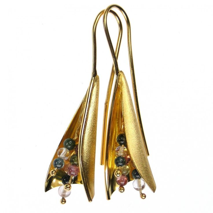 Damaskos Tourmaline Bouquet Earrings. 18k Gold and Tourmalines.  This and more handmade Greek jewelry at Athena's Treasures: www.athenas-treasures.com