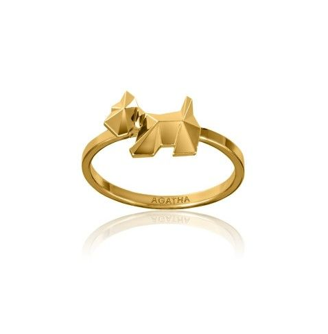 SCOTTITEK - Ring with faceted AGATHA Paris Scottie dog from the AGATHA Paris Electro Batik collection