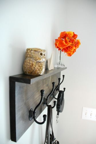 12 Creative DIY Coat Racks • A round-up of some really great coat rack projects with lots of tutorials! Including this diy coat rack with a ledge project from 'lively green door'.