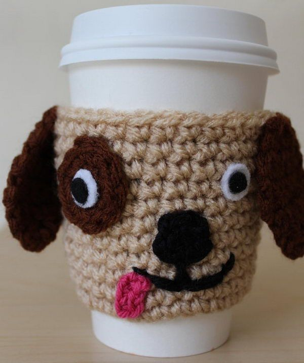 Cool Crochet Coffee Cozy Ideas - R2D2, dog, gingerbread man, santa, birdie, pumpkin, tea, personalized and more!