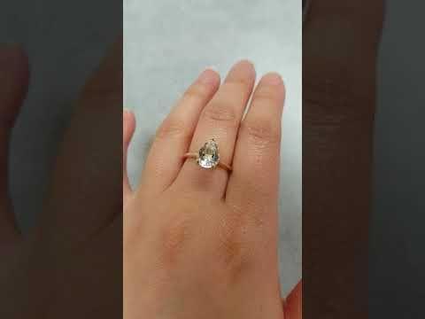 (1) Gold White Topaz Teardrop Ring - Modern Engagement Ring - Choose Your Setting - YouTube