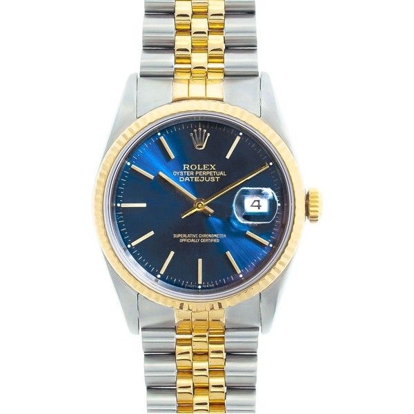 Pre-owned Rolex Datejust Men's Two-tone Blue Dial Watch ($4,150) ❤ liked on Polyvore featuring men's fashion, men's jewelry, men's watches, gold, mens watches, pre owned mens rolex watches, mens watches jewelry, mens waterproof watches and mens leather band watches