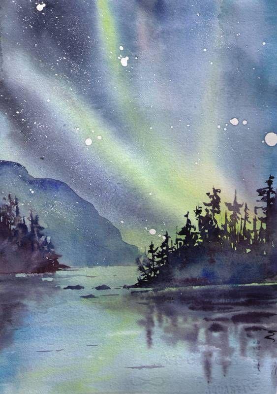 Northern Lights  Original Watercolour ©RiverWalker Arts
