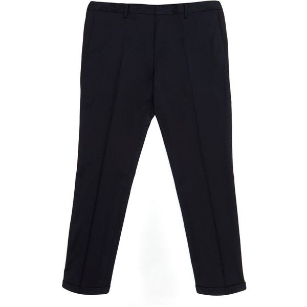 Paul Smith Mainline Navy Slim Turn Up Detail Trousers ($395) ❤ liked on Polyvore featuring men's fashion, men's clothing, men's pants, men's casual pants, mens slim pants, old navy mens pants, mens wool pants, mens navy blue dress pants and mens slim fit pants