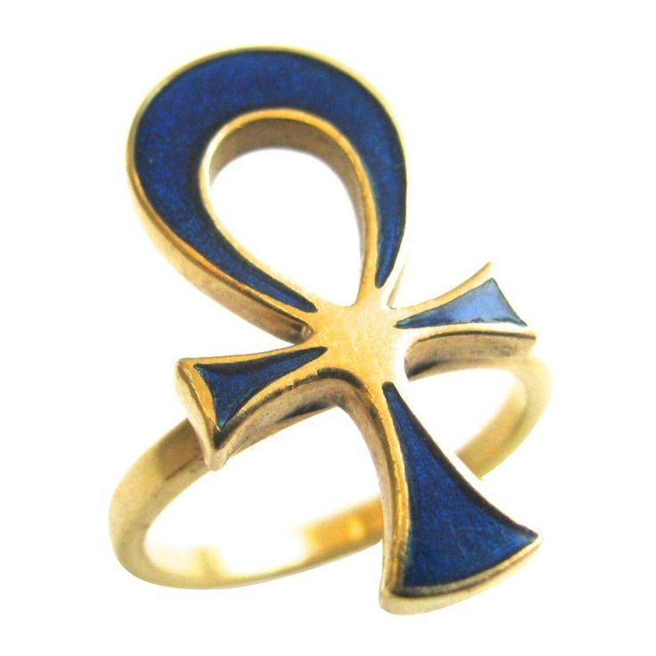 1970s Gucci Enamel Gold Ankh Ring
