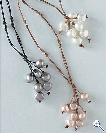 Fringe pearl necklaces. easy DIY - simple knotting. #Beading #Jewelry #Tutorials