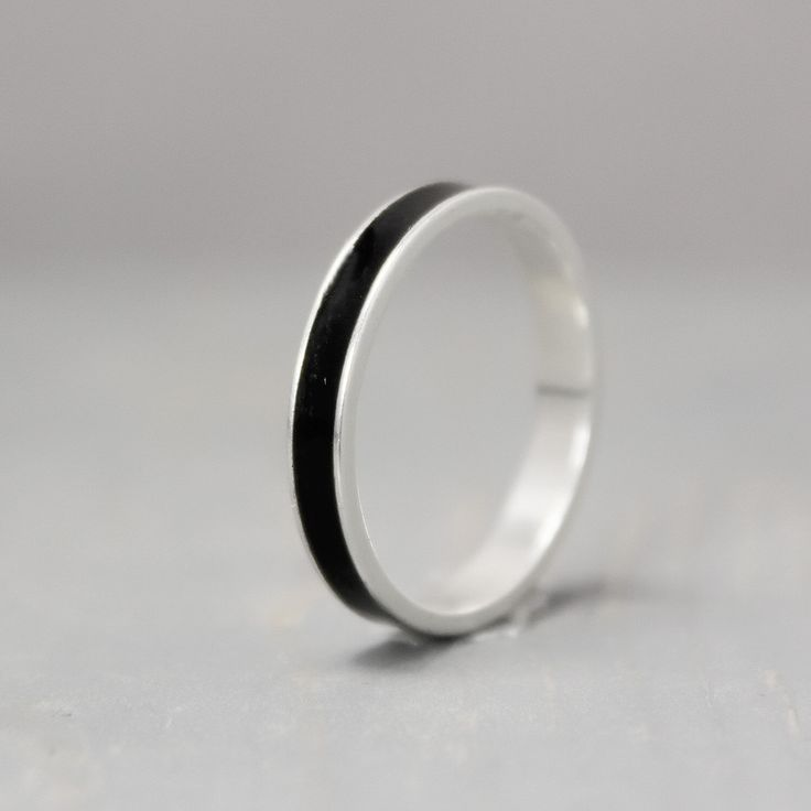 Black Tourmaline Ring, Sterling Silver Ring, Thin Silver Ring, Inlay Ring, Black Ring, Silver Band, Metaphysical Ring, Meditation Jewelry by PureImpressions on Etsy https://www.etsy.com/listing/467423222/black-tourmaline-ring-sterling-silver