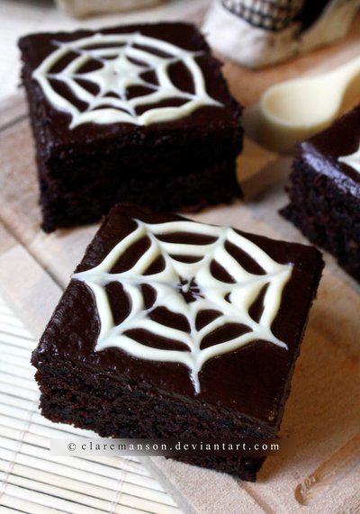 Spiderweb Brownies. For halloween. could cover these in royal icing...yummm