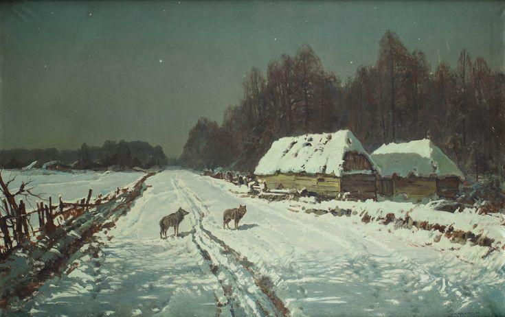 WIKTOR KORECKI (1890 - 1980)  PEJZAŻ ZIMOWY Z WILKAMI   olej, płótno / 87 x 133 cm