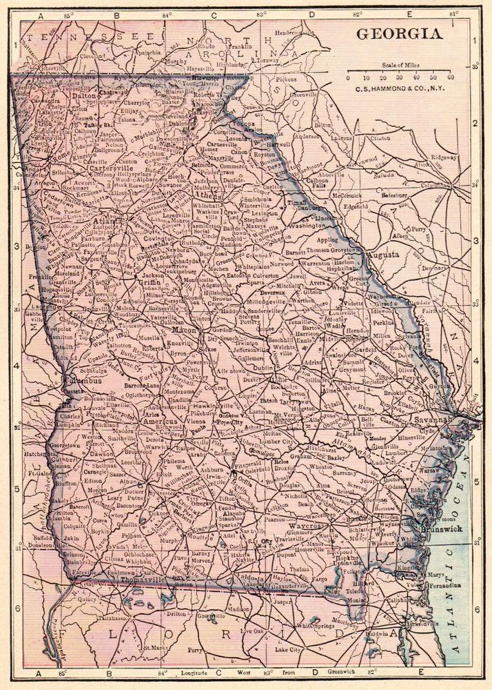 Antique Map Of Georgia 1926 Original Georgia State Map Gallery Wall - Us-map-georgia-state