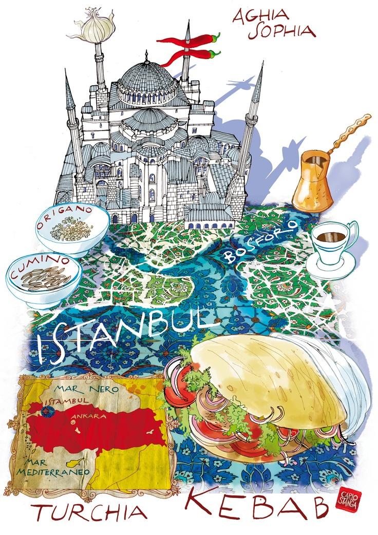 Istanbul map with Kebab-La Repubblica  www.carlostanga.com