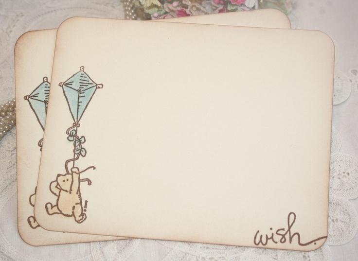 Baby Shower Wish Cards - Classic Winnie the Pooh - Blue Kite - Boy -  Set of 12. $14.00, via Etsy.