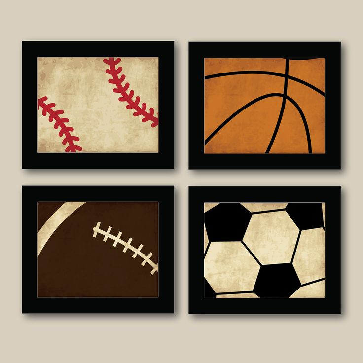 Set of 4 Vintage Sports Prints - Baseball - Football - Basketball - Soccer  - Boys