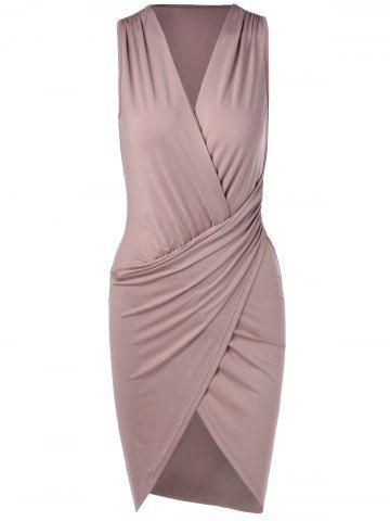 Elegant V-Neck Sleeveless Pleating Fitted Party Dress
