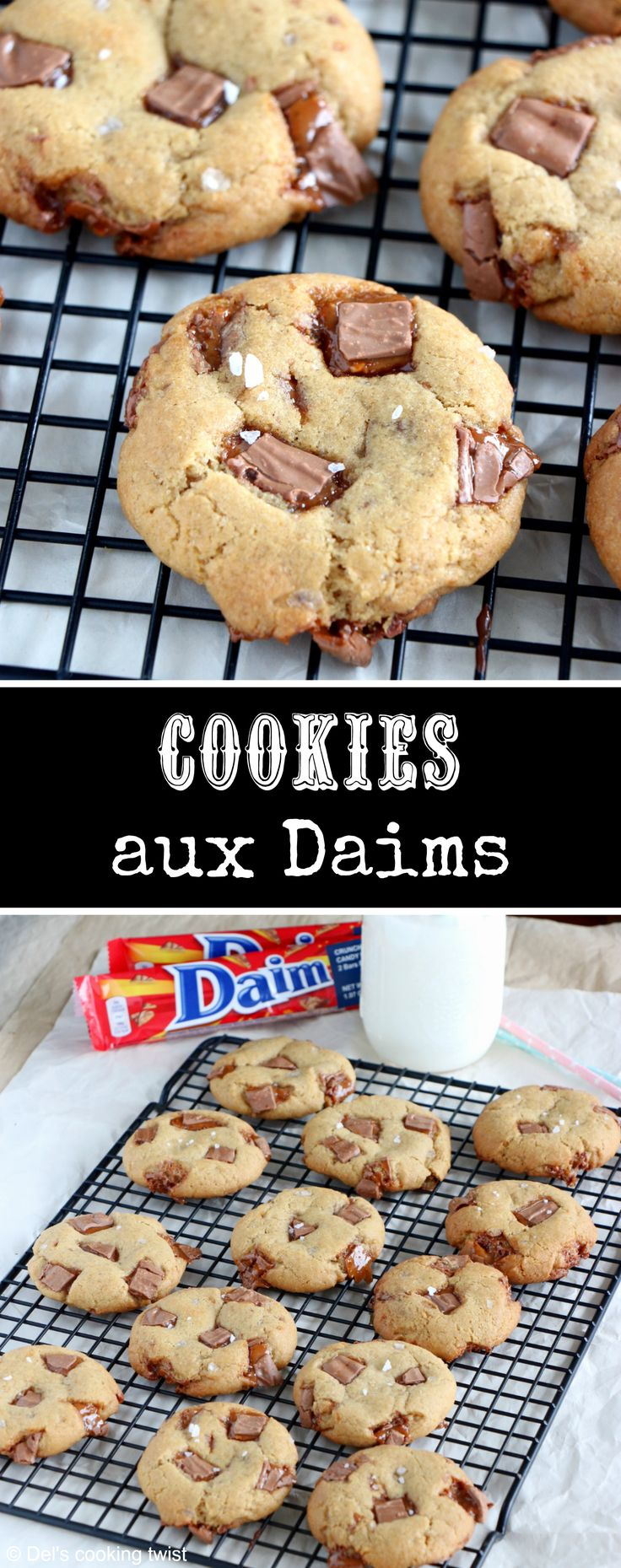 Cookies aux Daims - Réalisés avec les barres de chocolat suédoises Daim, ces cookies au chocolat au lait et au caramel sont la perfection même. | Del's cooking twist