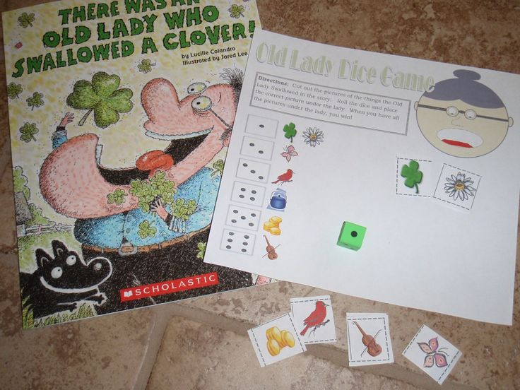 FREE Roll the items from the story there was an old lady who swallowed a clover.  dice game for after reading!!!  fun for st. patrick's day!