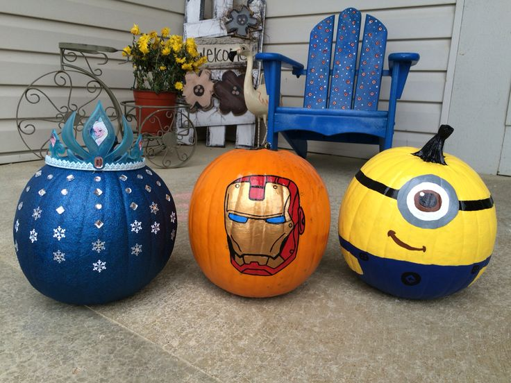 Painted pumpkins: Elsa themed, Iron Man, and Minion ❤️