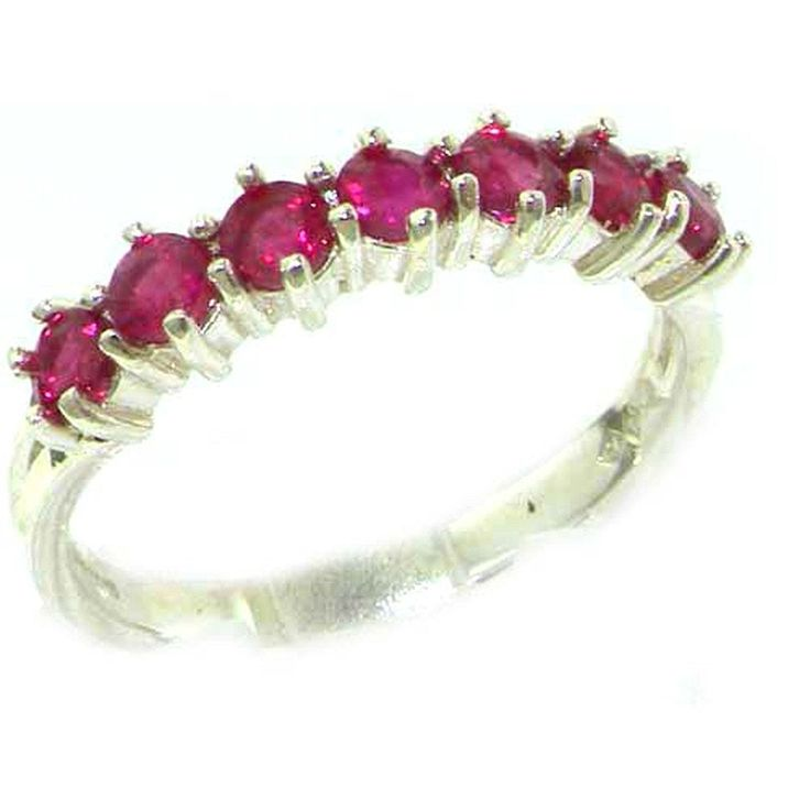 High Quality Solid Hallmarked Sterling Silver Natural Ruby Eternity Ring - Finger Sizes L to Z Available