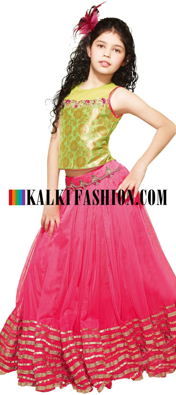 Buy Online from the link below. We ship worldwide (Free Shipping over US$100) http://www.kalkifashion.com/lehenga-choli-in-pink-and-green-embellished-in-stone.html