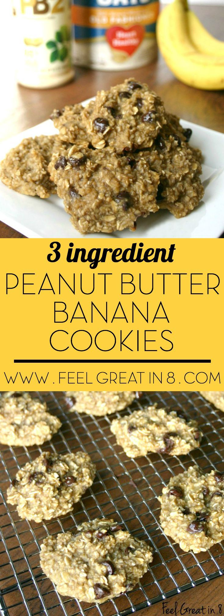 3 Ingredient Peanut Butter Banana Cookies - Made with only bananas, oats, PB2 (and your choice of mix-ins), these cookies are less than 50 calories each and healthy enough to be breakfast! | Feel Great in 8 - Healthy Real Food Recipes . Added chia, choc chips, coconut, raisins, and walnuts--SO good!