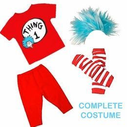 twin halloween costumes, thing 1 and thing 2 halloween costumes for twin babies