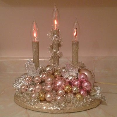 Vintage Christmas Candelabra Pink Gold Silver Ornaments Tinsel ...  via Claudia Tatum