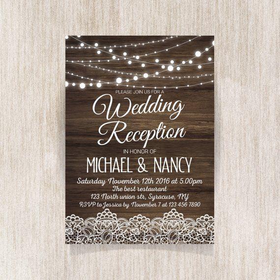 Rustic Wedding Reception Invitation Wedding Reception Etsy In 2020 Wedding Reception Invitations Rustic Wedding Reception Reception Invitations