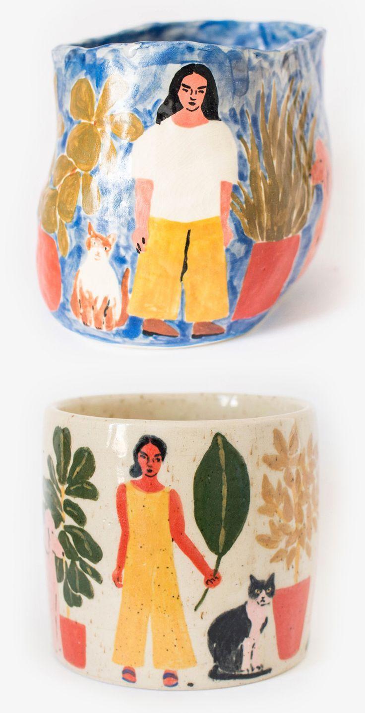 Ceramics by Leah Goren | illustrated ceramics | handcrafted ceramics | painted pots