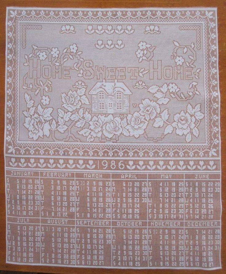 Lace Calendar 1986 'Home Sweet Home' Memorabilia Vintage Replica in Antiques, Textiles, Linens, Lace, Crochet, Doilies | eBay SELLER ID: kathy_a1