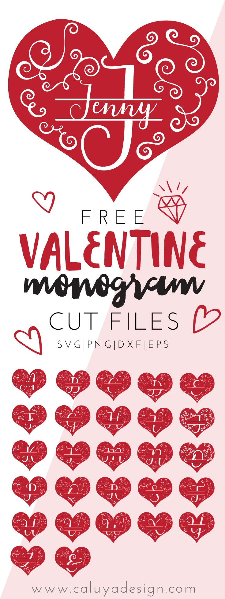 FREE Valentine Heart Monogram SVG cut file download. Free Valentine Heart monogram SVG, PNG, EPS, DXF cut file for Cricut, Cameo Silhouette and other major Cutting machines! Valentine Svg file, Free Valentine SVG file, Free Valentine cut file