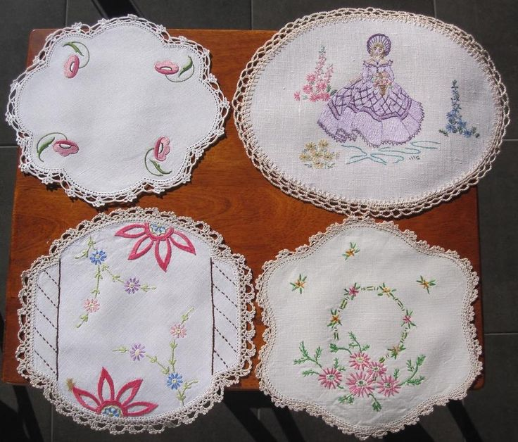 Four Vintage Hand Embroidered /Crochet DOILIES Variety Plus