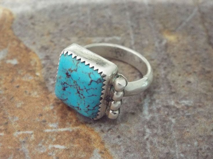 Native American Zuni Turquoise Ring With Hallmarks Size 7 ...
