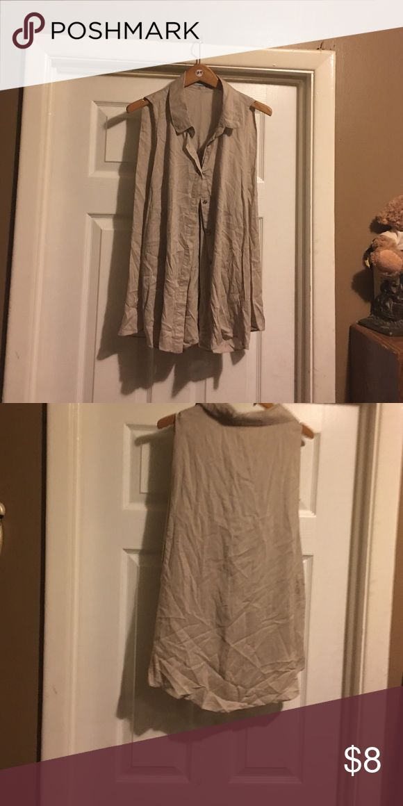 Beige Top button up from top to bottom Sleeveless button down blouse Do & Be Other