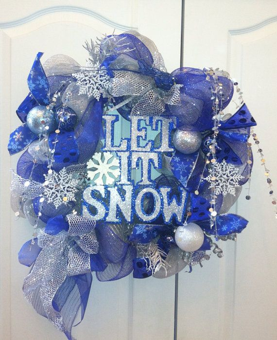 Let It Snow Blue And Silver Deco Mesh Wreath Christmas