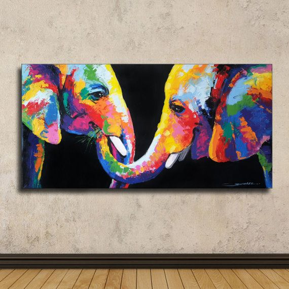 Colorful Elephant Painting 40cmH x 80cmW by SumareeART | Etsy