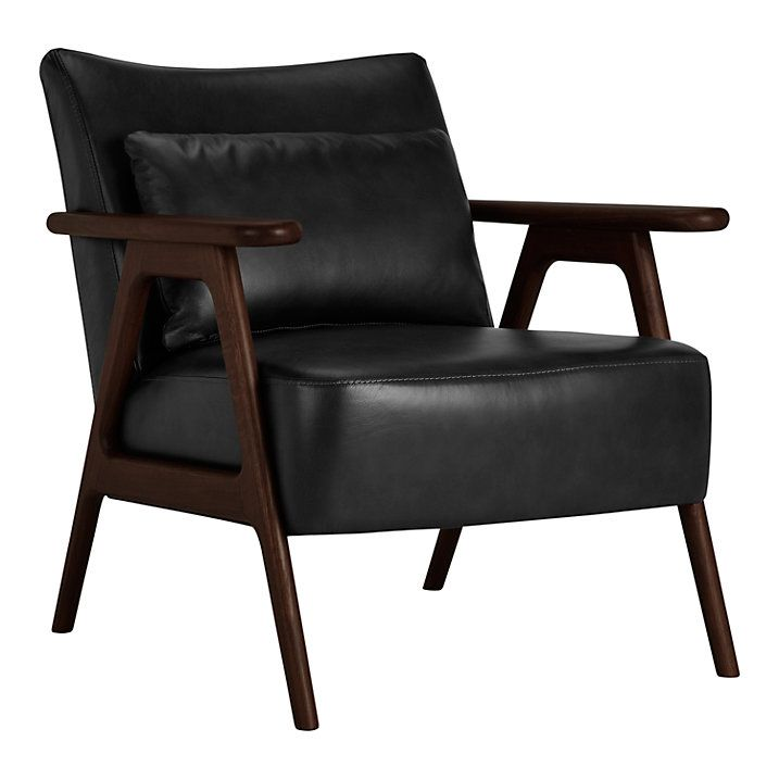 Buy John Lewis Hendricks Leather Armchair, Dark Leg, Nature Black Online At  Johnlewis.