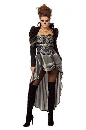 *werbung* Viktorianische Lady Schwarz/Silber Damen Kostüm Kleid Barock Halloween Vampir, Als viktorianische Dame werden Sie mit diesem edlen Outfit auf der nächsten Halloween- oder Mottoparty mit Sicherheit eine gute Figur machen. Mit ein paar spitzen Beißerchen und etwas Kunstblut verwandeln Sie sich alternativ in eine verführerische Vampir-Lady oder in Verbindung mit einer sch...