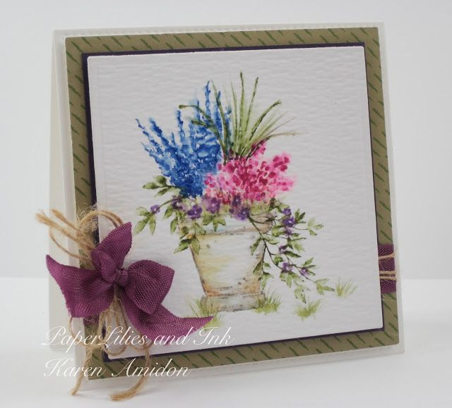 ART IMPRESSIONS Rubber Stamps: Ai Wonderful Water Color:  WC EZ Project A (Sku#4271) ... handmade watercolor card. pot, flowers, hemp twine, ribbon bow