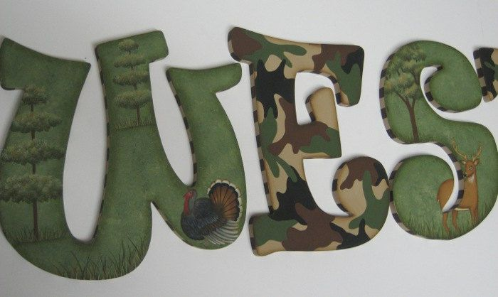 Camo Baby Nursery Handpainted Wall letters Hunting Outdoor Theme with Buck, Doe and Turkey. $14.98, via Etsy.
