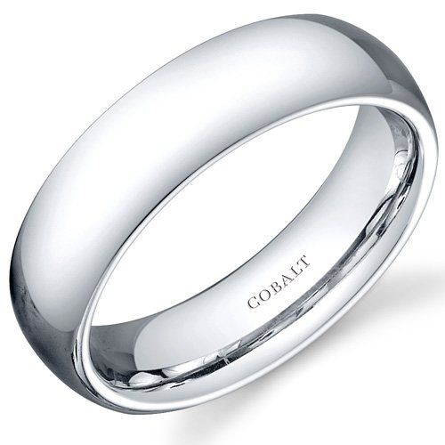 Traditional 6mm Comfort Fit Platinum Finish Mens Cobalt Wedding Band Ring Size 8 Peora