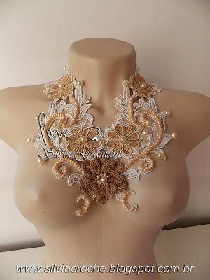 colar de renda, renda de guipir, flor de guipir, colar feminino, colar, croche, colar de croche                                                                                                                                                      Mais