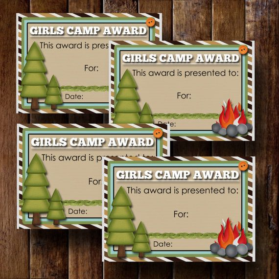 Girls Camp Awards Certificate 4 3.5x5 Cards by bowpeepcreations, $3.95 lds Paper Goods  printable  download  card  gift  lds  girls  camp  young womens  yw  scouts  award  certificate