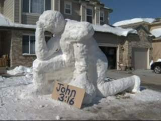 Tim Tebow snow sculpture in Superior, Colorado, February 2012