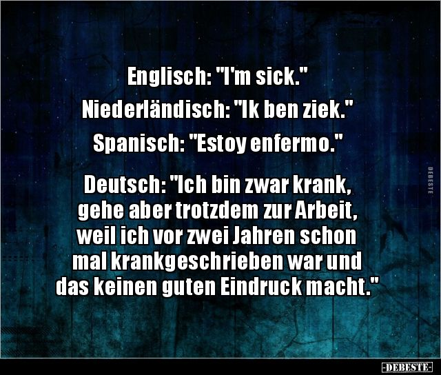 Englisch I M Sick Niederlandisch Ik Ben Ziek Lustige