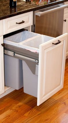 hidden trash cans in pull out cabinet
