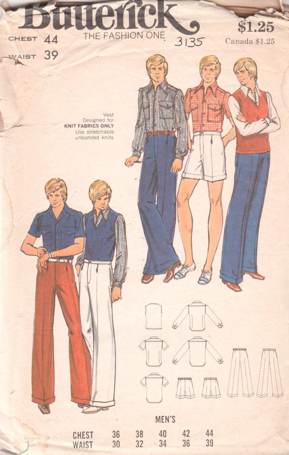 Butterick 3135 1970s Mens Straight Leg Cuffed Pants Stretch Knit Vest and Shirt adult vintage sewing pattern  by mbchills