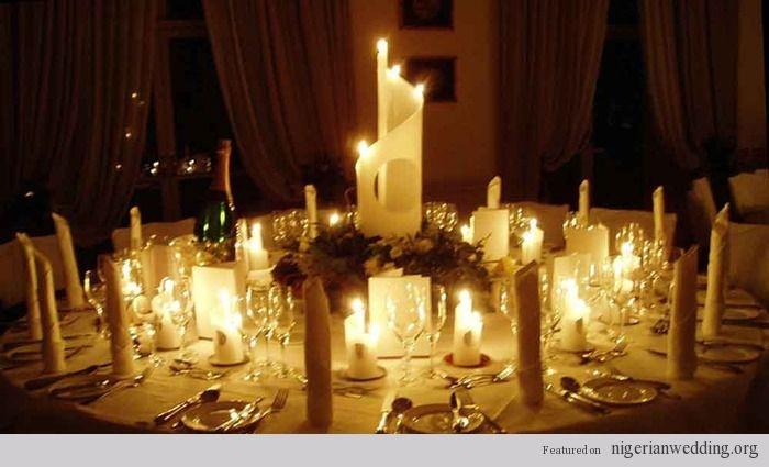 Nigerian wedding candle centerpiece: Candles Decor, Idea, Tables Design, Wedding Decor, Candles Centerpieces, Wedding Tables Centerpieces, Wedding Receptions Tables, Tables Decor, Wedding Tables Sets