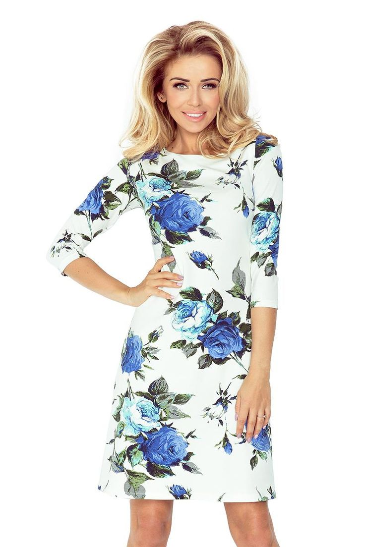 Sukienka Lekko Rozkloszowana w Niebieskie Kwiaty NU88-17