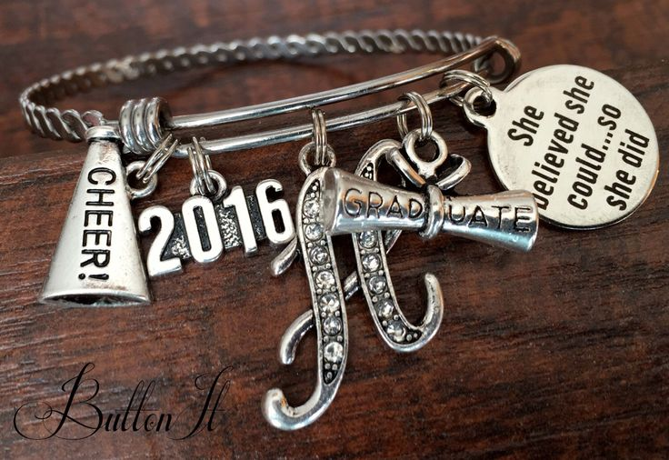 CHEERLEADING Gifts, CHEER, Graduation gift, She believed she chould, Senior gifts, Senior night, Graduate, Class of 2016, INITIAL jewelry by buttonit on Etsy https://www.etsy.com/listing/262492713/cheerleading-gifts-cheer-graduation-gift