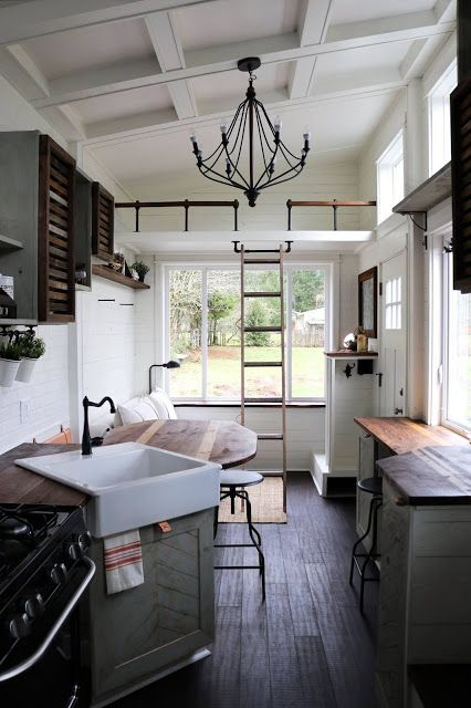 interiors of tiny houses. TINY GETAWAY HOUSE Farmhouse style apron front sink with coordinating  faucet Integrated pull out drawer for garbage and recycle receptacles 315 best Tiny House Interiors images on Pinterest